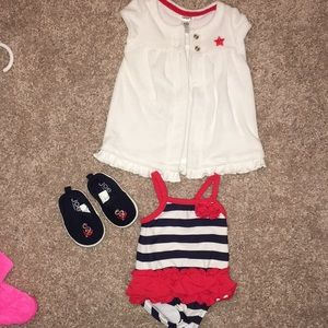 NB bathing suit, coverup and matching shoes!